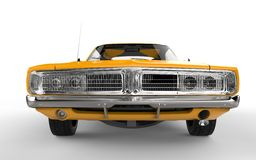 Yellow retro muscle car. Front view closeup shot Stock Photo