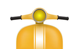 Yellow retro scooter with white stripes. Front view stock illustration