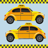 Yellow  retro taxi. Vector art. Yellow  retro taxi. Vector illustration Royalty Free Stock Photo