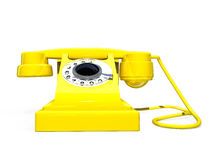 Yellow retro telephone Stock Images