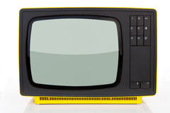 Yellow retro television. Stock Images