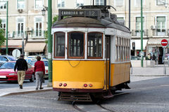 Yellow retro tramway. Famous vintage tramway in Lisbon (Portugal Royalty Free Stock Images