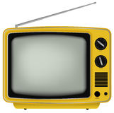 Yellow Retro TV Royalty Free Stock Images