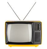 Yellow retro tv Stock Photo