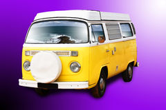 Yellow retro van. A retro yellow van with the ocean reflex on the windows Stock Images