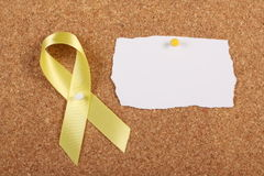 Yellow Ribbon and Blank Card Stock Photo
