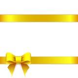 Yellow ribbon bow horizontal border Royalty Free Stock Images