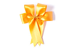 Yellow ribbon bow isolated on white Royalty Free Stock Photos