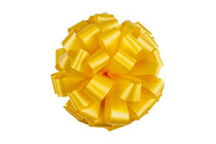 Yellow ribbon with a bow Royalty Free Stock Photography