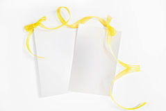 Yellow Ribbon Frame with Bow Stock Image