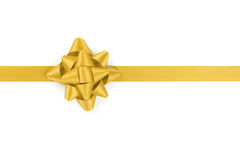 Yellow ribbon with gift bow isolated on white Royalty Free Stock Image