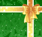 Yellow ribbon on a green background Stock Images
