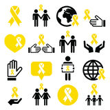 Yellow ribbon icons - suicide prevention, support for troops, adoptive parents symbol Royalty Free Stock Image