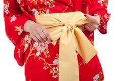 Yellow ribbon on Japanese traditional clothes of Kimono Royalty Free Stock Photos