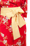 Yellow ribbon on Japanese traditional clothes of Kimono Royalty Free Stock Photo