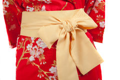 Yellow ribbon on Japanese traditional clothes of Kimono, Yukata. Yellow ribbon on Japanese traditional clothes of Kimono Royalty Free Stock Photos