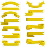 Yellow ribbon in plasticine or clay style. Royalty Free Stock Photos