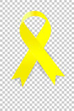 Yellow Ribbon with soft shadow at transparent effect background Royalty Free Stock Image