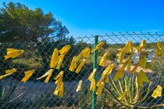 Yellow ribbon ties in Catalonia protest stock photography