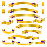 Yellow Ribbons Set With Gradient, Vector Illustration Stock Photos