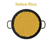 Yellow rice in paella pan Stock Image