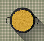 Yellow rice in paella pan Stock Images