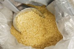 Yellow rice in a sack Stock Photo