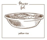 Yellow rice sketch vector icon for Mexican cuisine food menu design Royalty Free Stock Image