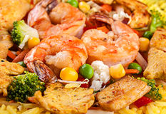 Yellow rice with tiger shrimp Stock Image
