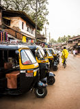 yellow rickshaws, tuk tuk in streets of Gokarna, India stock image