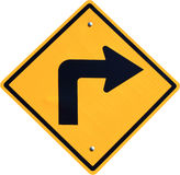 Yellow Right Turn Road Sign Royalty Free Stock Photos