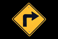 Yellow right turn road sign Stock Photo