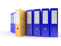 Yellow Ring Binder. Ring binders on white desktop. Computer generated image with clipping path Royalty Free Stock Photos