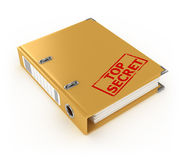 Yellow ring binder with top secret stamp. On the white background Stock Photos