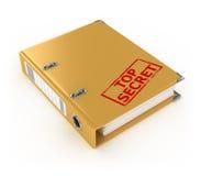 Yellow ring binder with top secret stamp Stock Photos