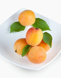 Yellow ripe apricots on a plate Royalty Free Stock Photos