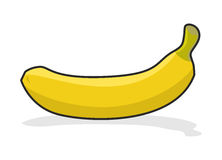 Yellow ripe banana on  white background. Tropical fresh fruit. Royalty Free Stock Image