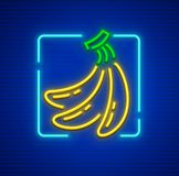 Yellow ripe bananas cluster of neon fruits. Neon yellow ripe bananas, cluster of fresh fruits. Sign icon with nighttime neon illumination. EPS10 vector stock illustration
