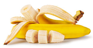 Yellow ripe bananas sliced Royalty Free Stock Image
