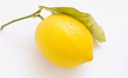 Yellow ripe lemon. On a white background Royalty Free Stock Photos