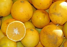 Yellow ripe lemons from Sicily for sale at the market Stock Images