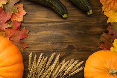 Yellow ripe pumpkin, maple leaves, red apples, wheat on wooden background. Thanksgiving, autumn Stock Photography