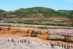 Hukou Falls of Yellow River. The Yellow River Hukou Waterfall, known as the & x22;the Yellow River wonder& x22;, is the only yellow waterfall in the Yellow River Stock Image