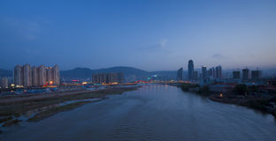 Yellow river lanzhou night scene Stock Images