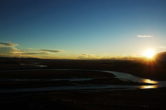 Free Yellow River On The Meadows When Sunset Royalty Free Stock Photo - 5465095