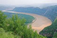 Yellow River Qiankun Bend. The landscape of Qiankun Bend of Yellow River in Yanchuan, Shaanxi, China stock images