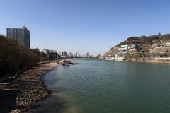Yellow river in winter. The Yellow river passing through Lanzhou city is not yellow in winter. This is a view of yellow river band. The water is so clean Stock Image