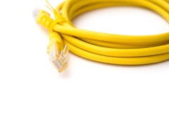 Yellow RJ45 computer network connecting cable with clipping path Royalty Free Stock Photo