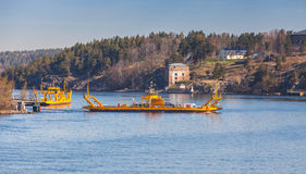 Yellow Ro-Ro ferry in Sweden Stock Images