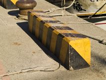 Yellow road barriers Stock Photo